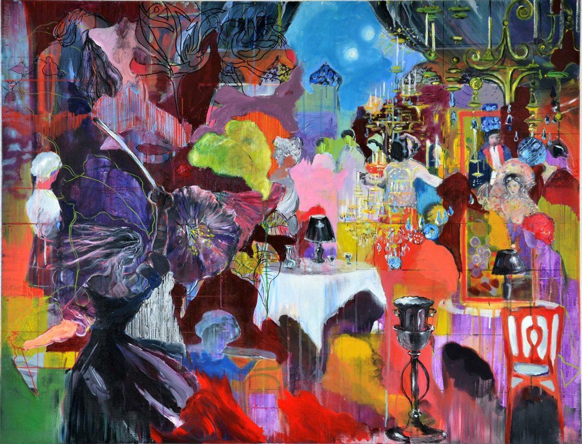 Ineke Damen: 'Banquet', 2018, 100x130 cm, Acrylic on linen
