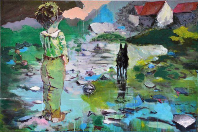 Ineke Damen: 'Clod', 2018, 60x90 cm, Acrylic on linen