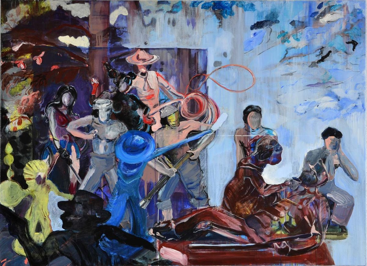Ineke Damen: 'Lasso', 2017, 80x110 cm, Acrylic on linen
