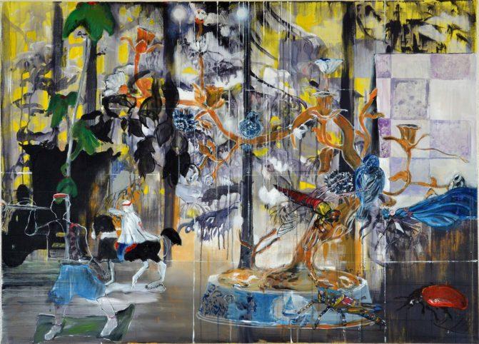 Ineke Damen: 'Retreat', 2018-90x125 cm, Acrylic on linen