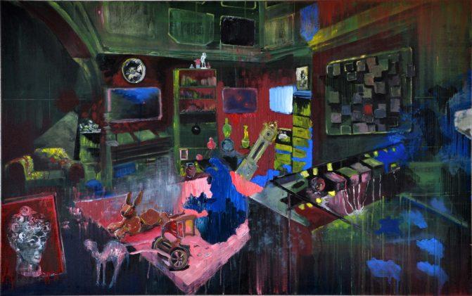 Ineke Damen: 'Room', 2018, 85x130 cm, Acrylic on linen